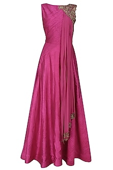 Berry pink dabka embroidered anarkali with draped dupatta by Tanya Patni
