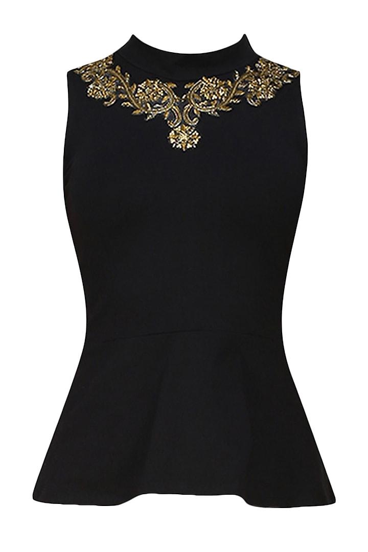 Onyx black stretch dabka embroidered faux necklace Peplum top by Tanya Patni