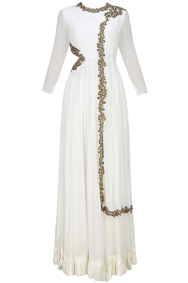 White Anarkali with draped dupatta and side cutout by Tanya Patni