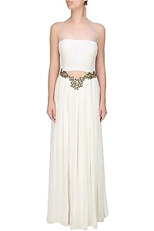 Ghost white cutout sheer mesh gown by Tanya Patni