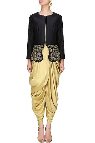 Onyx black peplum jacket and berkley gold  cowl draped dhoti pants by Tanya Patni