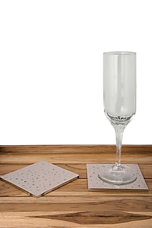 Silver Aluminium Square Coasters (Set of 4) by The Pitara Project