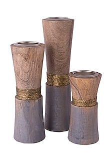 Rose Gold Wooden Tea Light Holders (Set of 3) by The Pitara Project