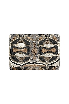 Black & Gold Embroidered Sling Flap Clutch by The Purple Sack