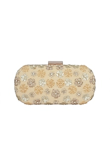 Beige & Gold Embroidered Sling Box Clutch by The Purple Sack