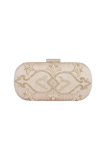 Light Pink & Gold Embroidered Box Clutch by The Purple Sack