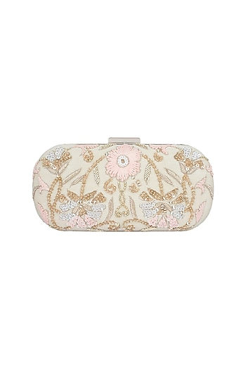 Cream & Gold Embroidered Box Clutch by The Purple Sack