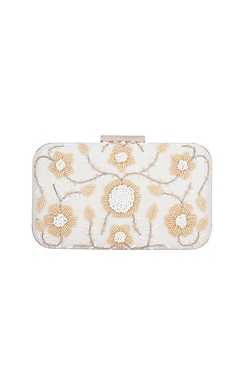 White & Gold Embroidered Box Clutch by The Purple Sack