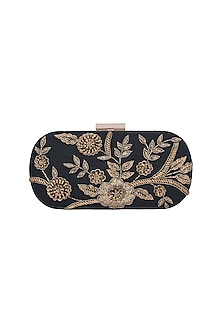 Black & Gold Embroidered Box Clutch by The Purple Sack
