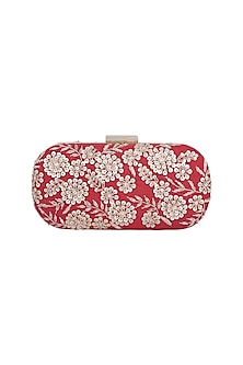 Red & Gold Embroidered Box Clutch by The Purple Sack