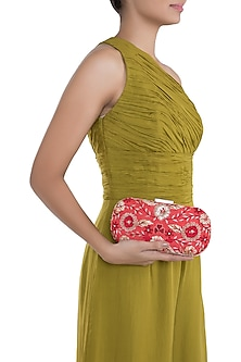 Coral & Gold Embroidered Box Clutch by The Purple Sack