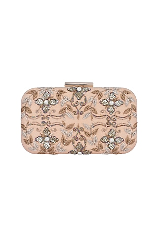Peach & Gold Embroidered Sling Box Clutch by The Purple Sack
