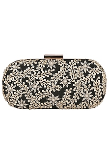 Black Embroidered Clutch by The Purple Sack