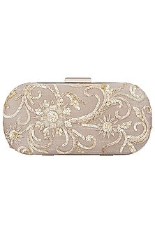 Grey Embroidered Clutch by The Purple Sack