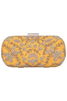 Yellow Embroidered Clutch by The Purple Sack