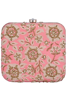 Pink Embroidered Square Clutch by The Purple Sack