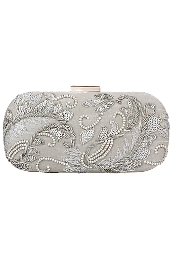 Grey and Silver Embroidered Clutch by The Purple Sack