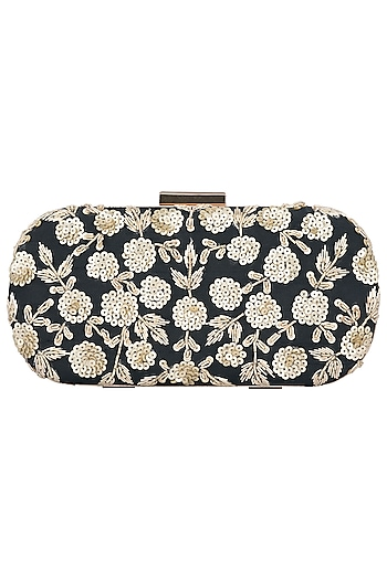 Black Floral Embroidered Clutch by The Purple Sack