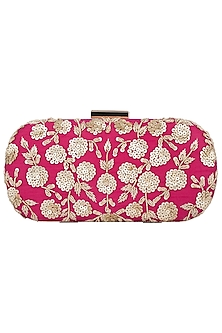 Pink Embroidered Clutch by The Purple Sack