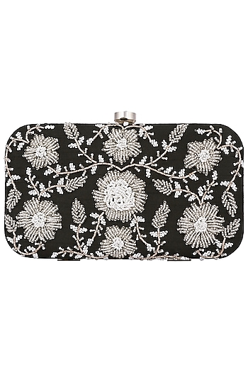 Black and Silver Embroidered Clutch by The Purple Sack