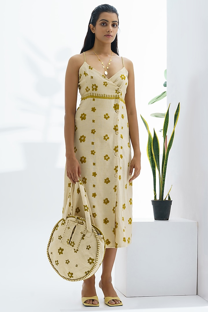Beige Floral Hand Block Printed Dress by The Right Cut