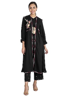 Black Embroidered Jacket With Crop Top & Pants by The Right Cut