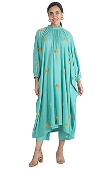 Turquoise Embroidered Kurta With Trouser Pants & Inner by The Right Cut