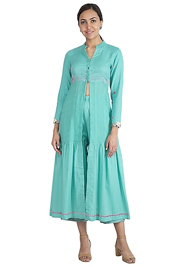Turquoise Hand Embroidered Kurta Dress by The Right Cut