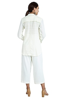 White Embroidered Top With Pants by The Right Cut