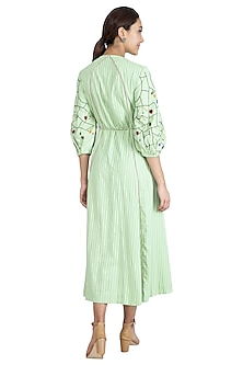 Mint Green Hand Embroidered Kurta Dress by The Right Cut