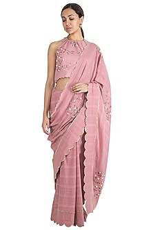 Pink Hand Embroidered Saree Set by The Right Cut