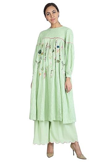 Mint Green Embroidered Kurta With Sharara Pants by The Right Cut
