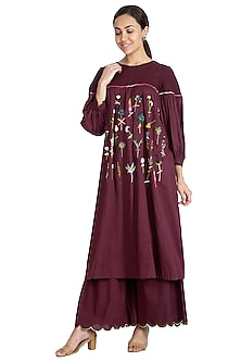 Purple Embroidered Kurta With Sharara Pants by The Right Cut