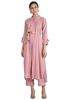 Pink Embroidered Jacket With Trouser Pants by The Right Cut