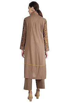 Brown Embroidered Kurta Set by The Right Cut