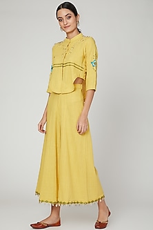 Turmeric Yellow Embroidered Top With Palazzo Pants by The Right Cut