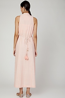 Blush Pink Embroidered Dress With Belt by The Right Cut