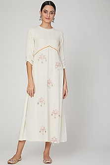 Ivory Lotus Embroidered Dress by The Right Cut