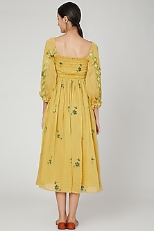 Tumeric Yellow Printed Dress by The Right Cut