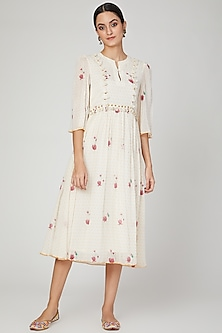 Ivory Embroidered & Printed Dress by The Right Cut