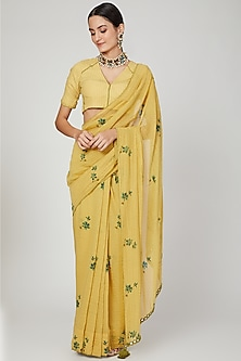 Tumeric Yellow Embroidered Saree Set by The Right Cut