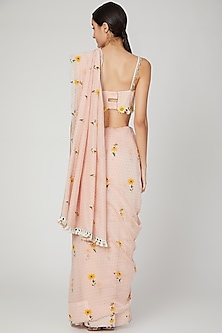Blush Pink Embroidered Saree Set by The Right Cut