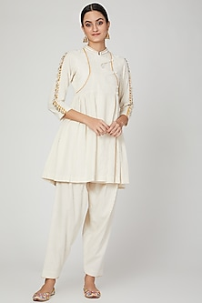Ivory Embroidered Angrakha Kurta Set by The Right Cut