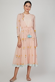 Blush Pink Embroidered & Printed Dress by The Right Cut
