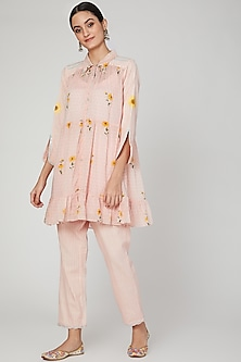 Blush Pink Embroidered Shirt With Pants by The Right Cut