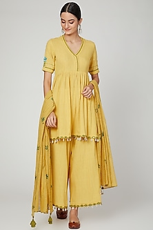 Tumeric Yellow Embroidered & Printed Kurta Set by The Right Cut