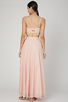 Blush Pink Embroidered Kalidar Skirt Set by The Right Cut
