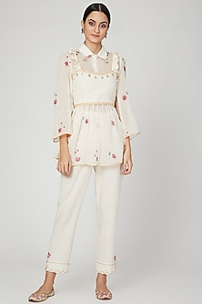Ivory Printed Shirt With Pants & Crop Top by The Right Cut