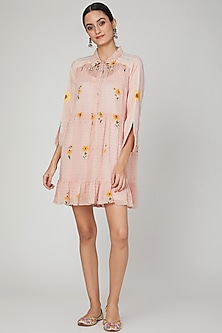 Blush Pink Printed Shirt Dress by The Right Cut