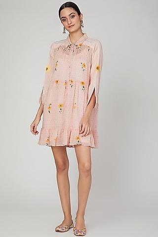 Blush Pink Printed Shirt Dress by The Right Cut
